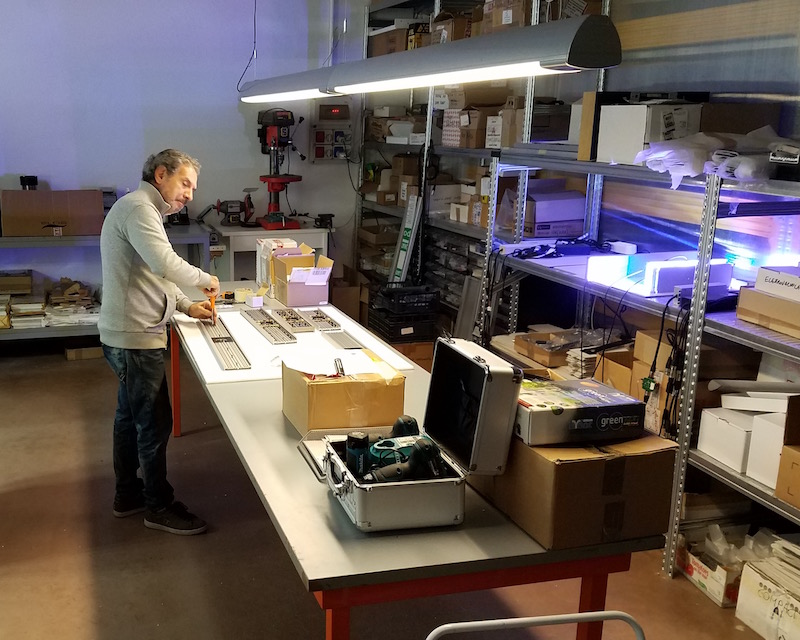 The Elos lights being hand built