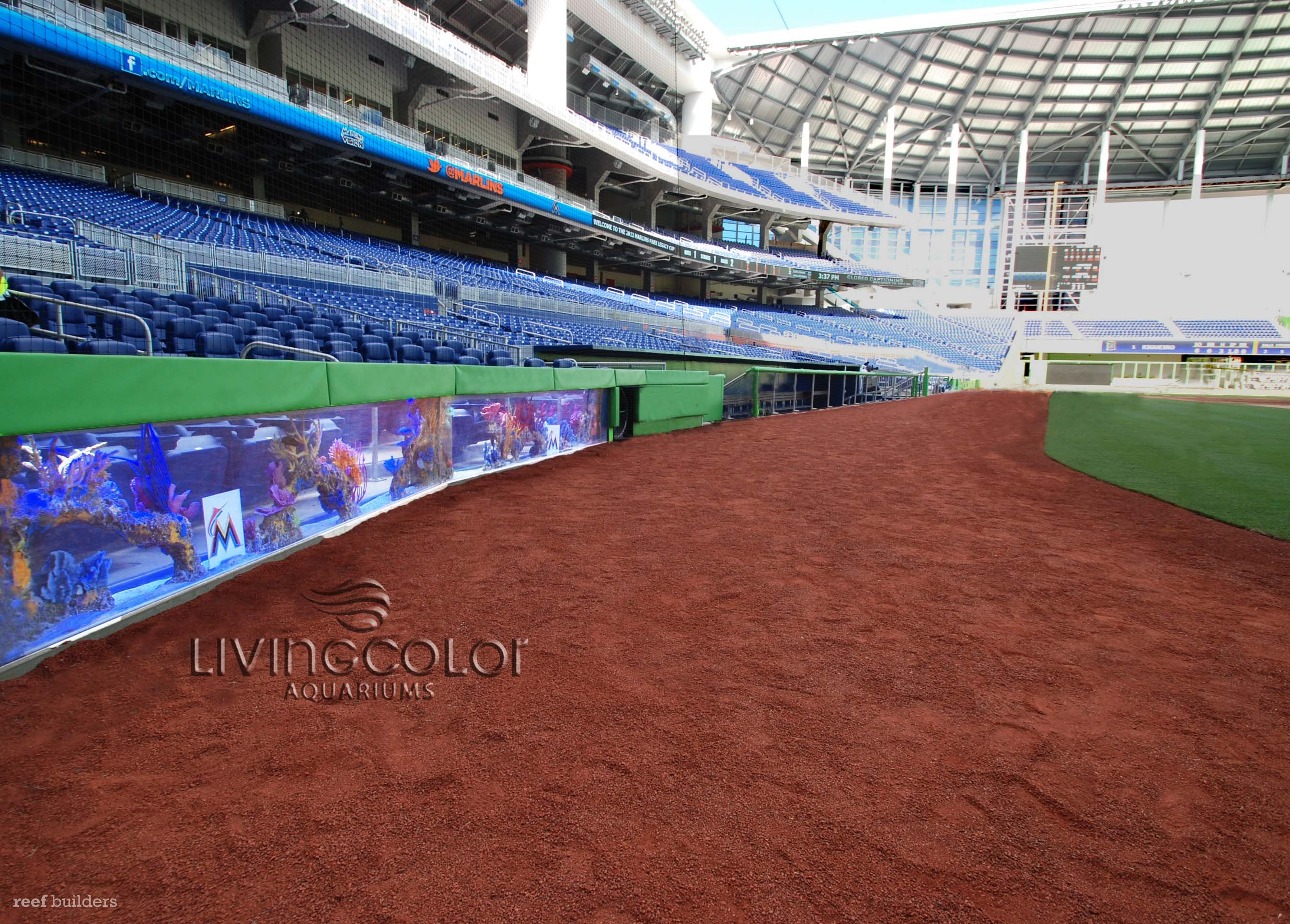 Mlb s miami marlins completes aquarium installation fish for Marlins fish tank