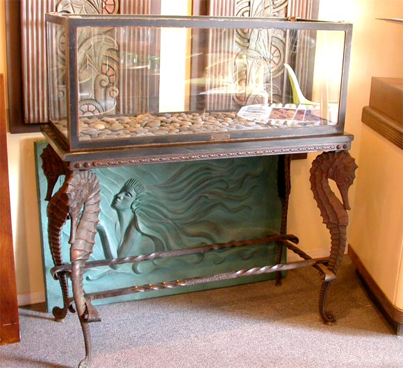 Cool Bronzed Antique Aquarium And Stand From The 1920s