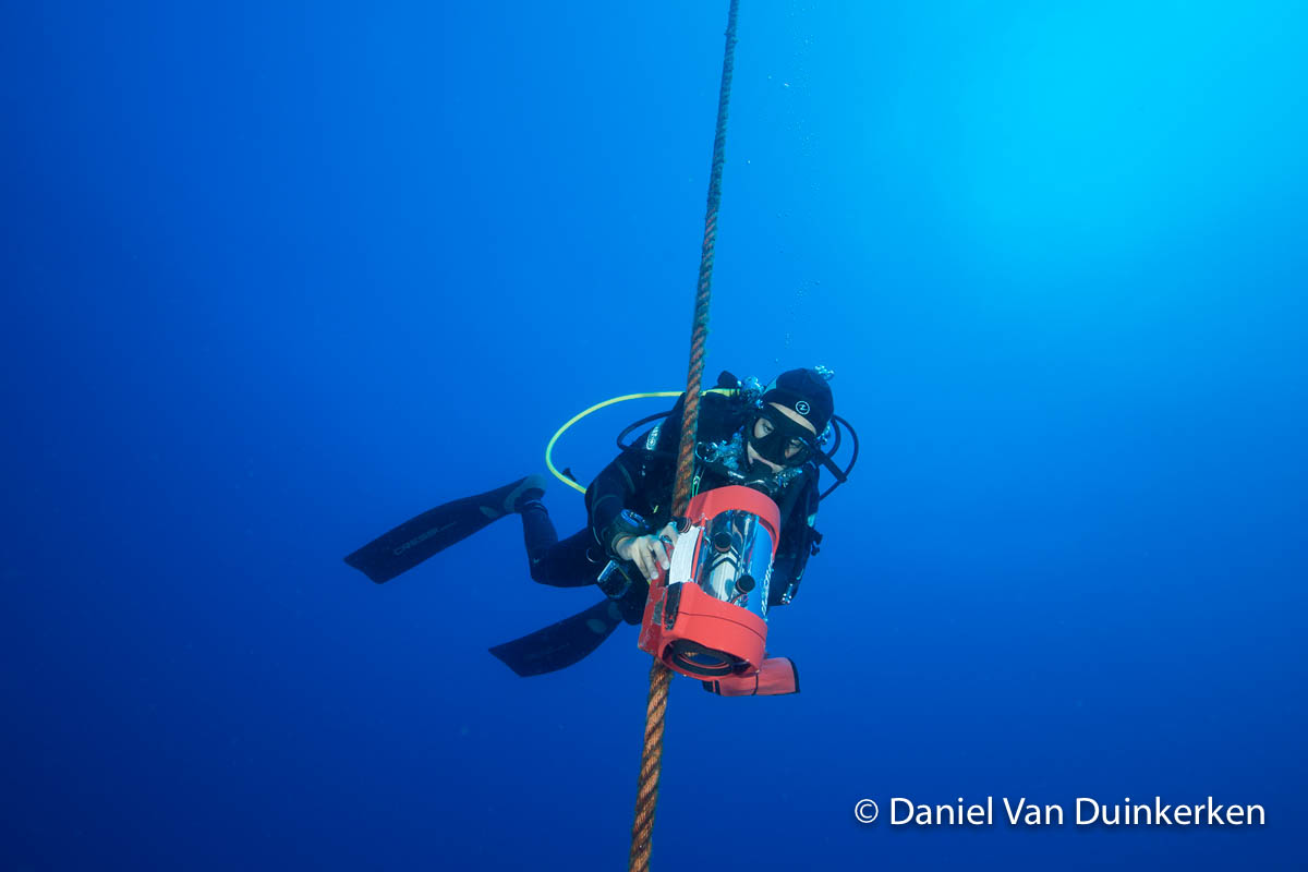 Ana installes a custom video observation station at the Ambrósio seamount